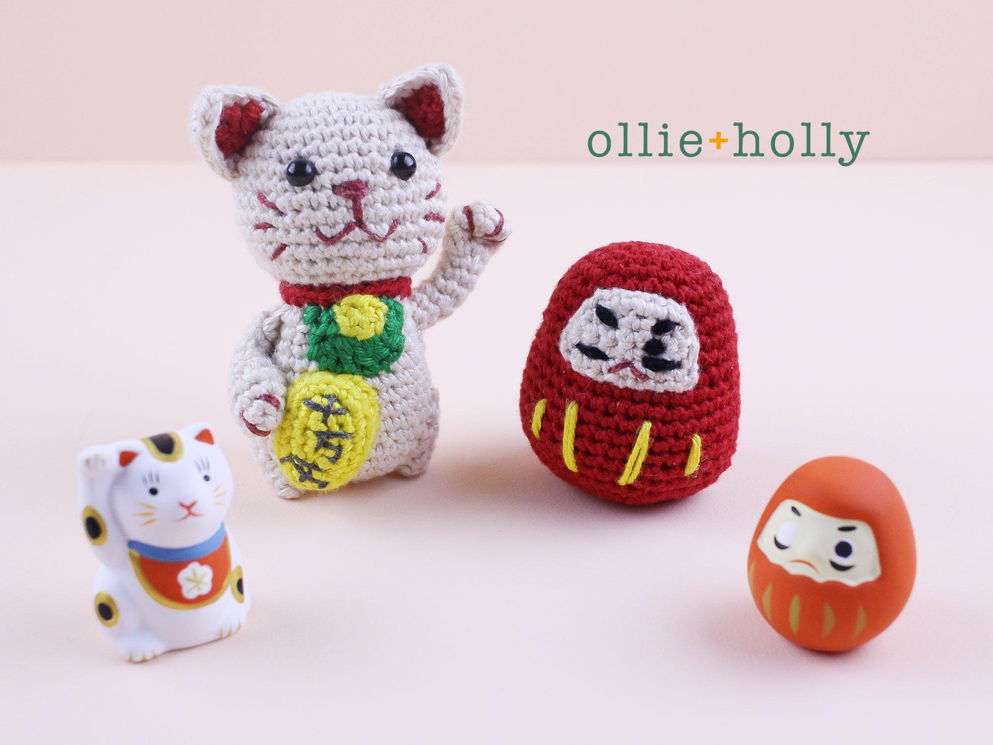 Free Daruma and Maneki Neko Amigurumi Crochet Pattern