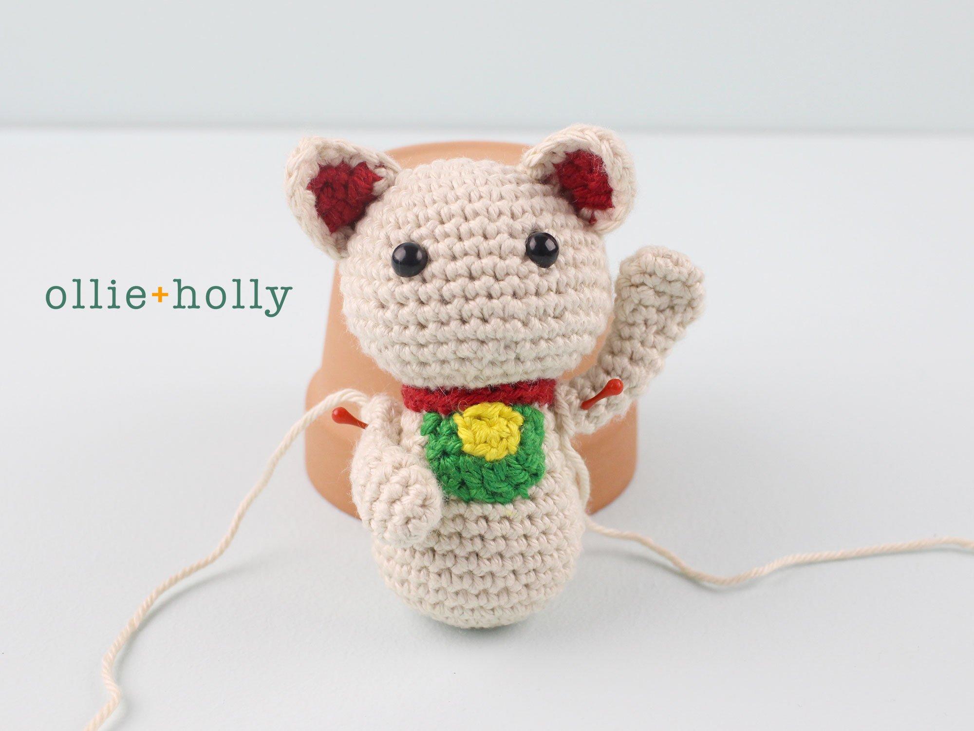 Free Maneki Neko Lucky Cat Amigurumi Crochet Pattern Step 15