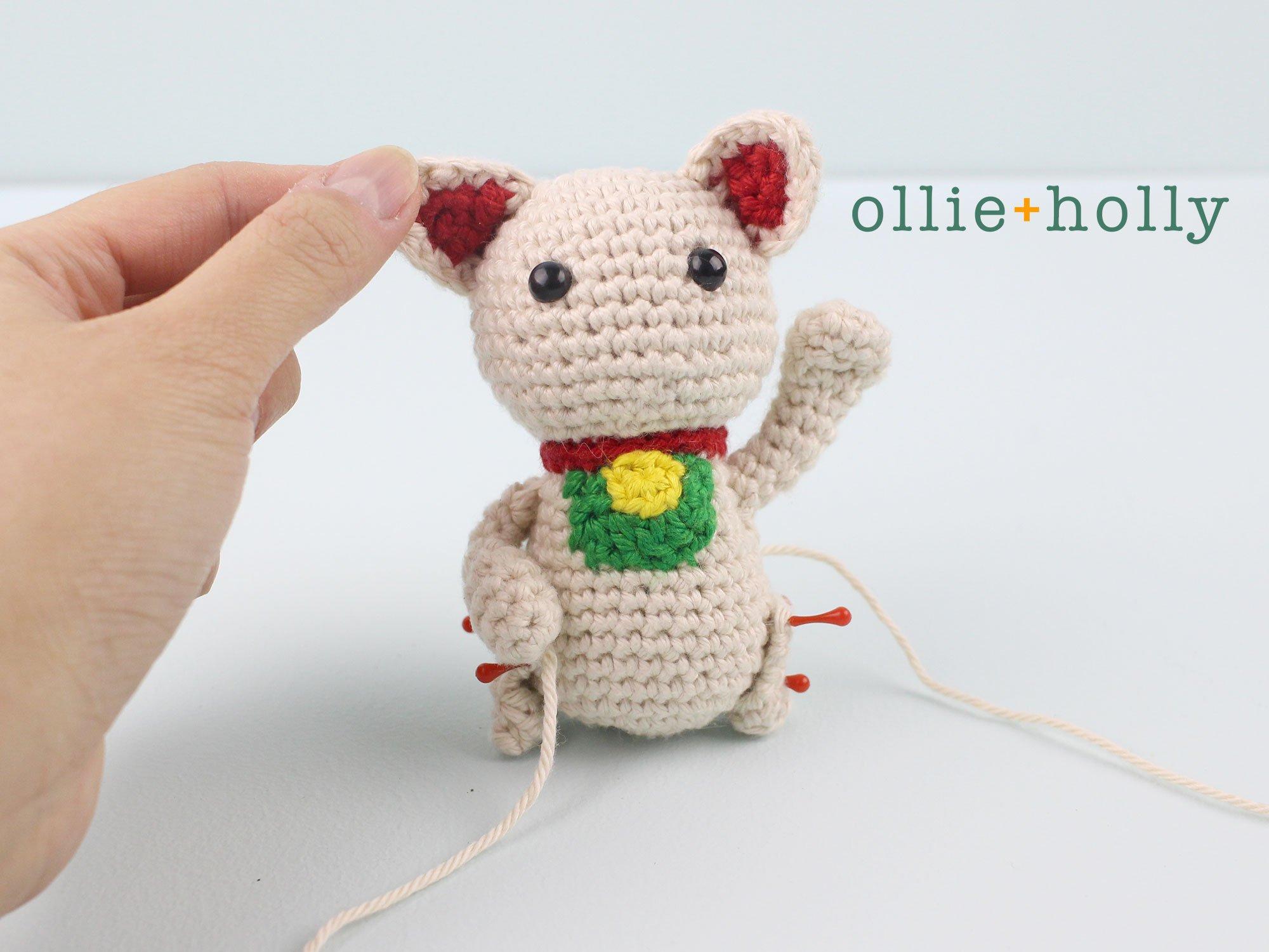 Free Maneki Neko Lucky Cat Amigurumi Crochet Pattern Step 16