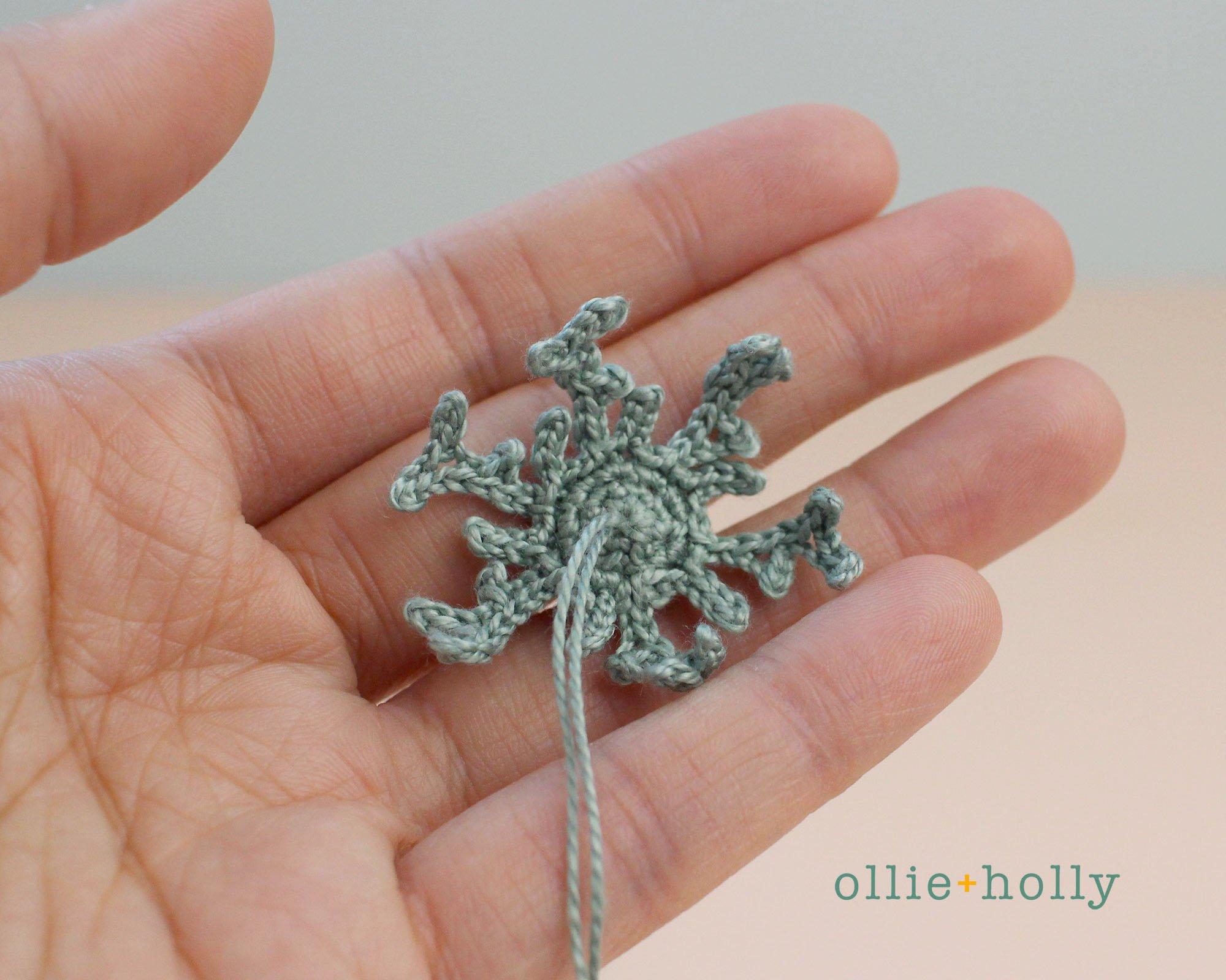 Free Blue Thistle Flowers Crochet Pattern Step 16