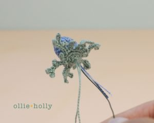 Free Blue Thistle Flowers Crochet Pattern Step 16