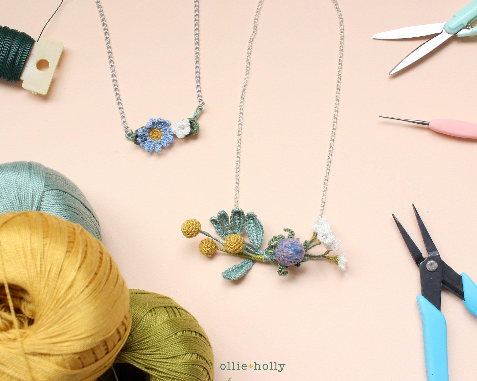Free Tiny Flowers Bouquet Crochet Pattern Necklace
