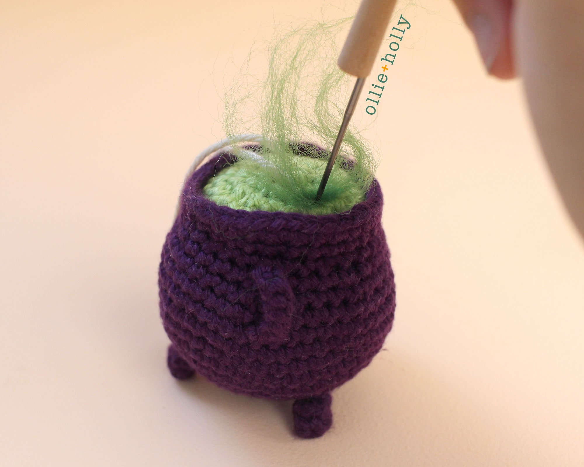Free Halloween Witch's Cauldron Ornament Amigurumi Crochet Pattern Step 11