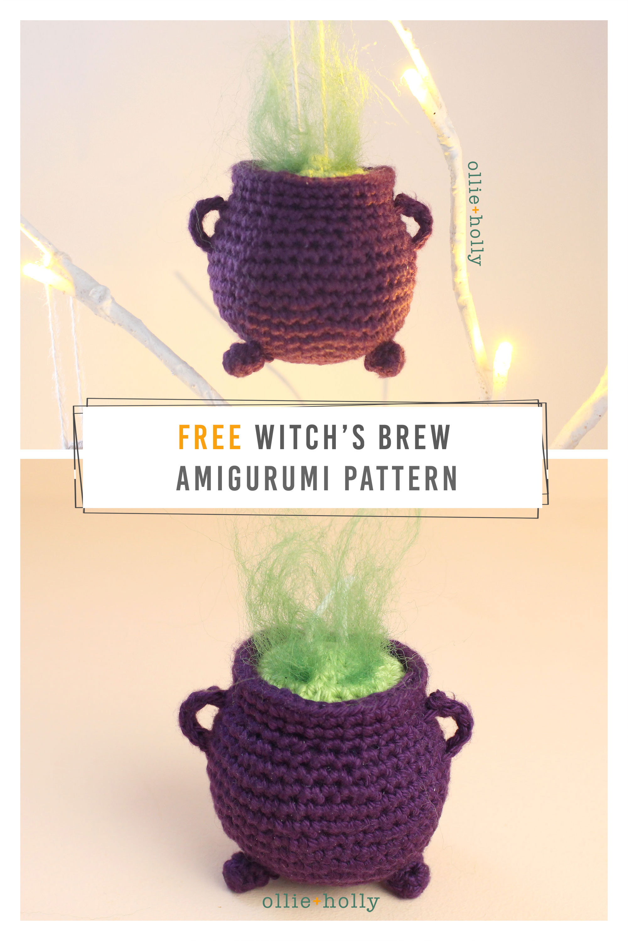 Free Halloween Witch's Cauldron Ornament Amigurumi Crochet Pattern