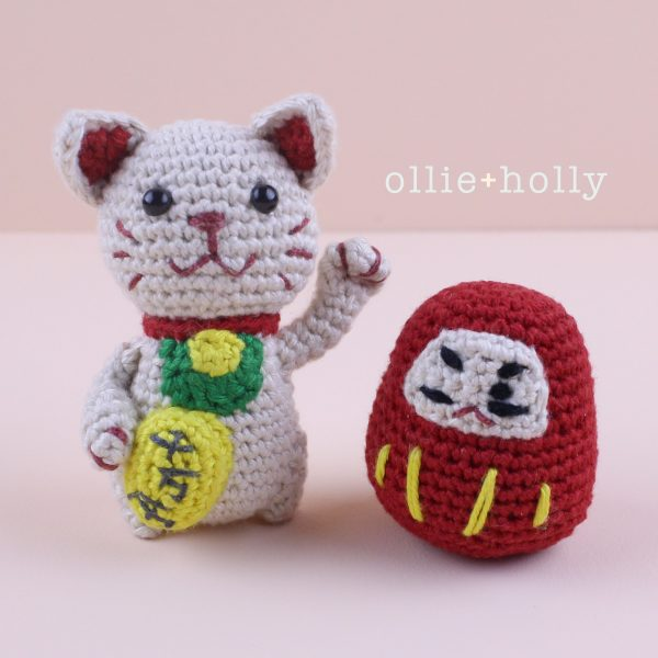 Maneki Neko Lucky Cat & Daruma Amigurumi Crochet (Pattern Only)