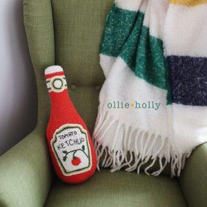 Ketchup Bottle Pillow Amigurumi Crochet (Pattern Only)