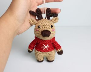 Rudolph the Reindeer Amigurumi Christmas Ornament Crochet Pattern