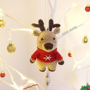 Rudolph Reindeer Amigurumi Crochet Ornament (Pattern Only)