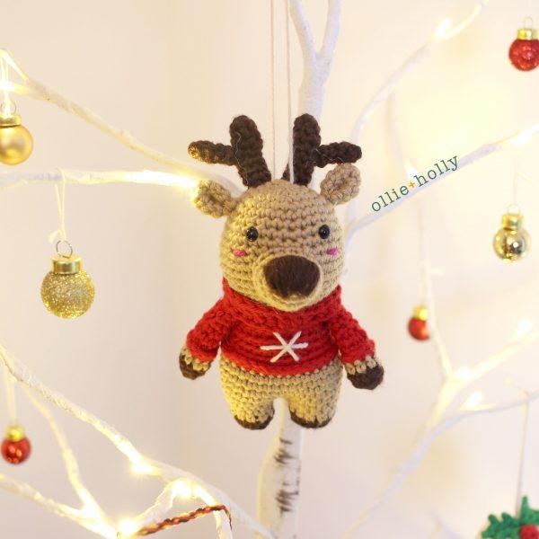 Rudolph Reindeer Amigurumi Crochet Ornament (Pattern Only)