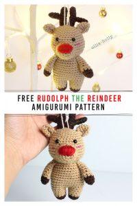 Free Rudolph Reindeer Amigurumi Christmas Ornament Crochet Pattern Pinterest