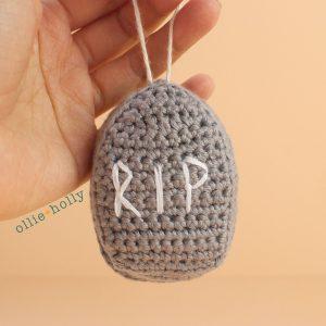 Tombstone Amigurumi Crochet Ornament (Pattern Only)