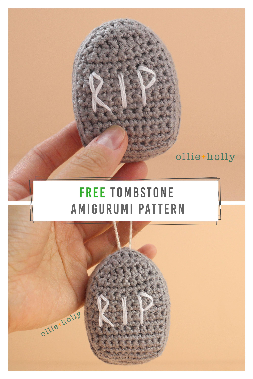 Free Halloween Tombstone Ornament Amigurumi Pattern