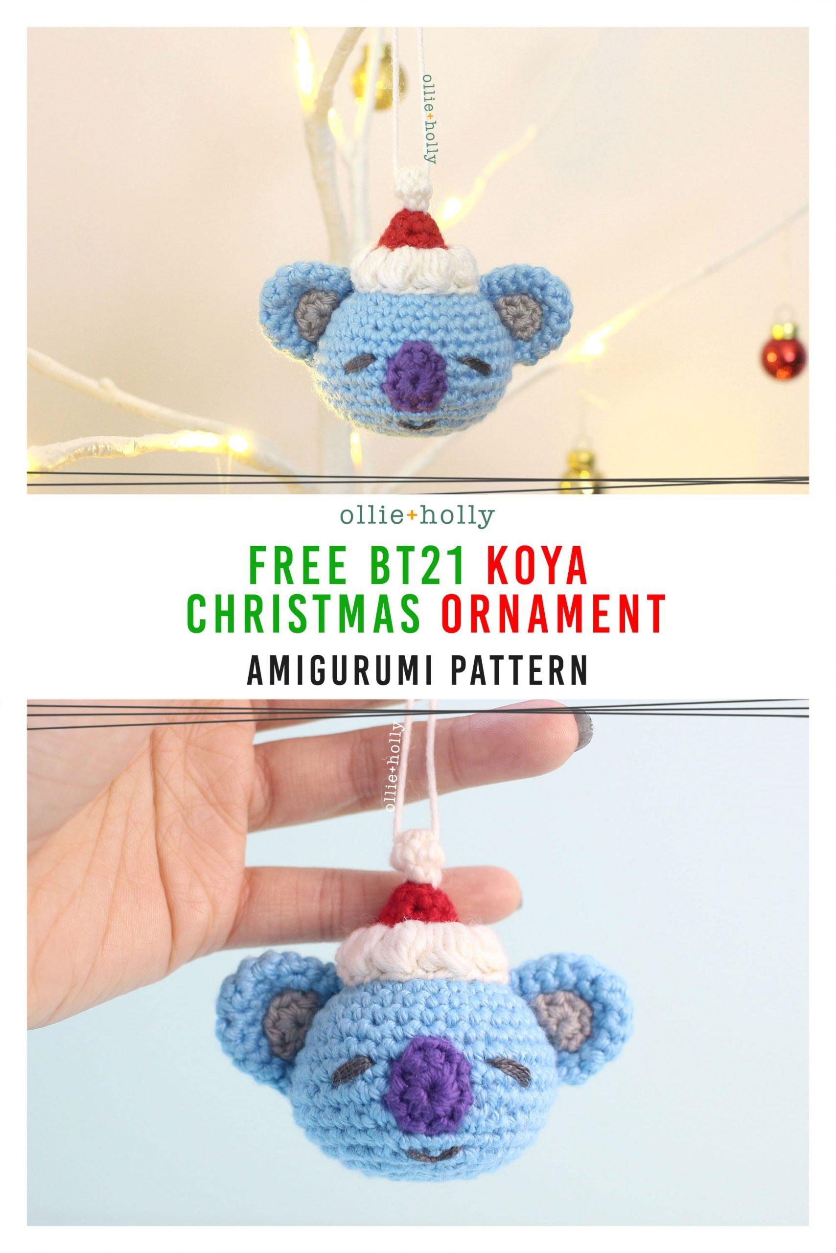 Free BT21 Koya Christmas Ornament Amigurumi Crochet Pattern