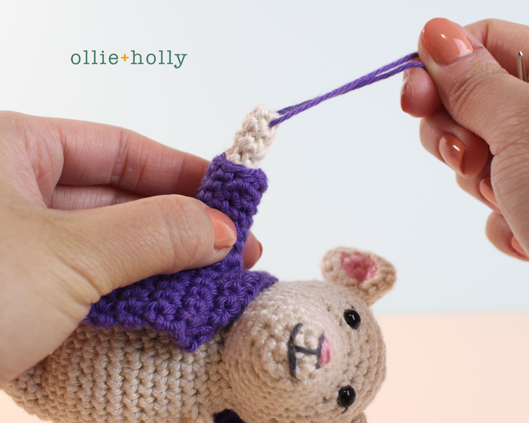 The Rescuers Miss Bianca Mouse Free Amigurumi Crochet Pattern Coat Assembly Step 3
