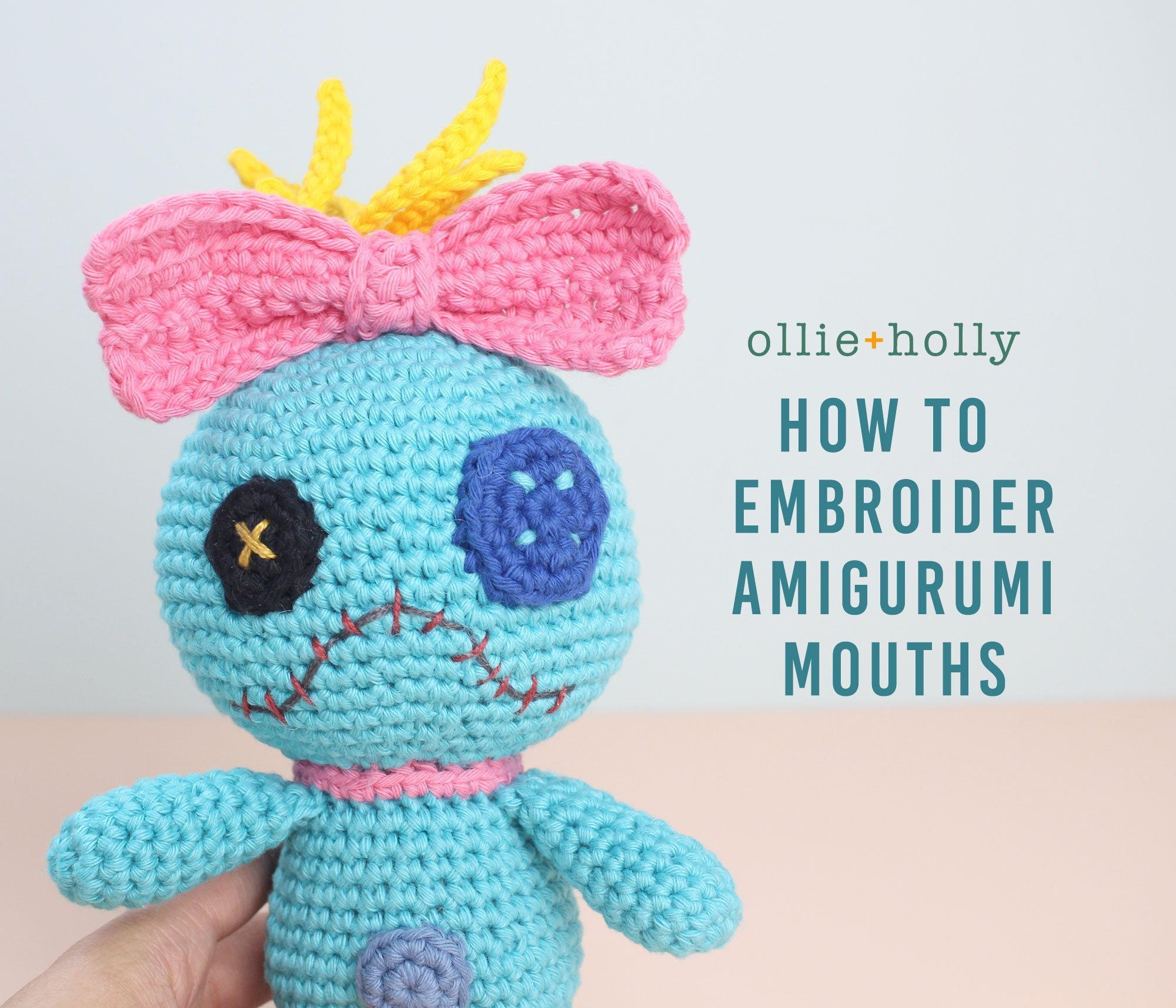 How to Embroider on Amigurumi - Hobium Blog | 1715x2000