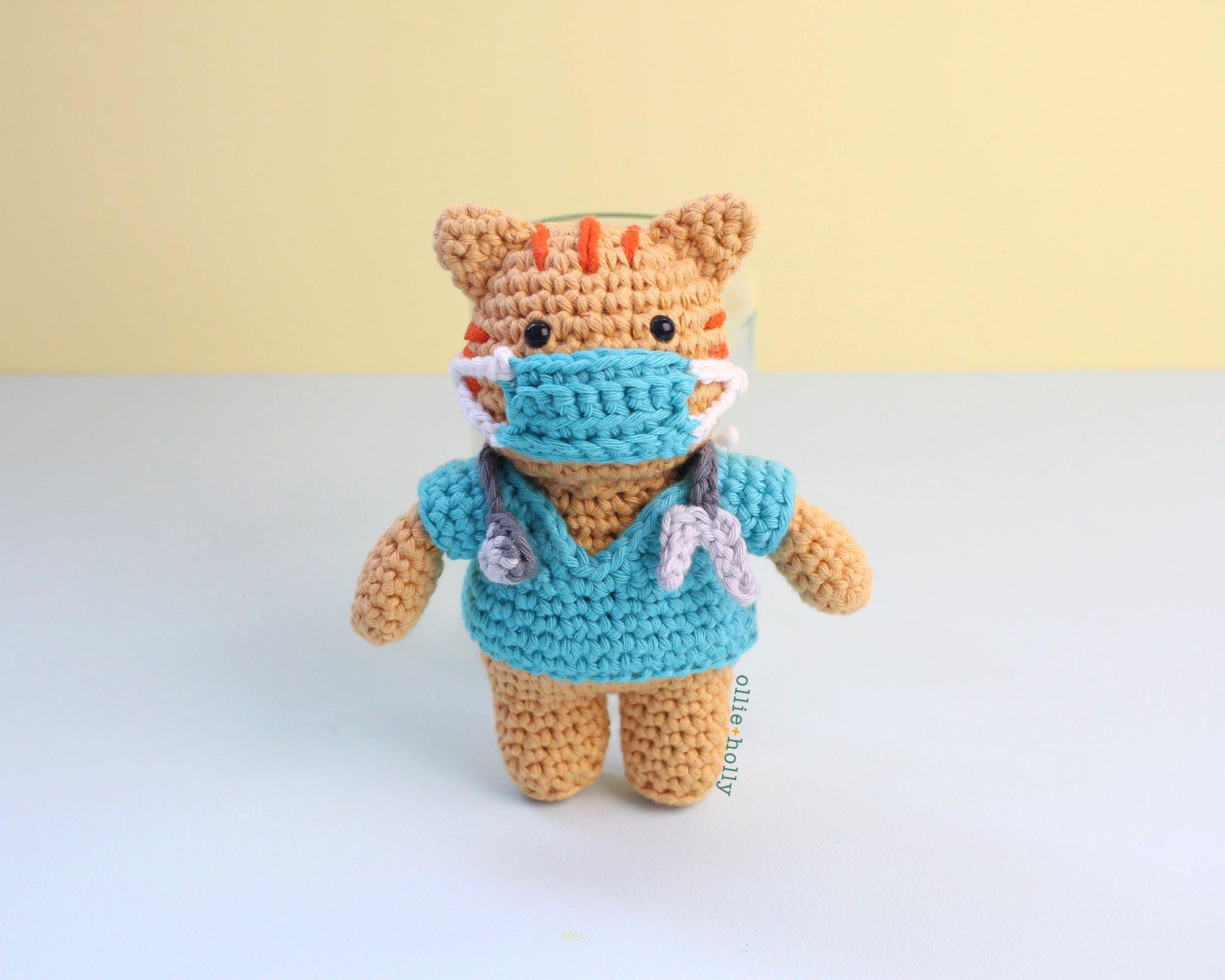 Free Nurse Cat Stuffed Animal Amigurumi Crochet Pattern Mask On
