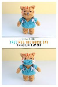 Free Nurse Cat Stuffed Animal Amigurumi Crochet Pattern