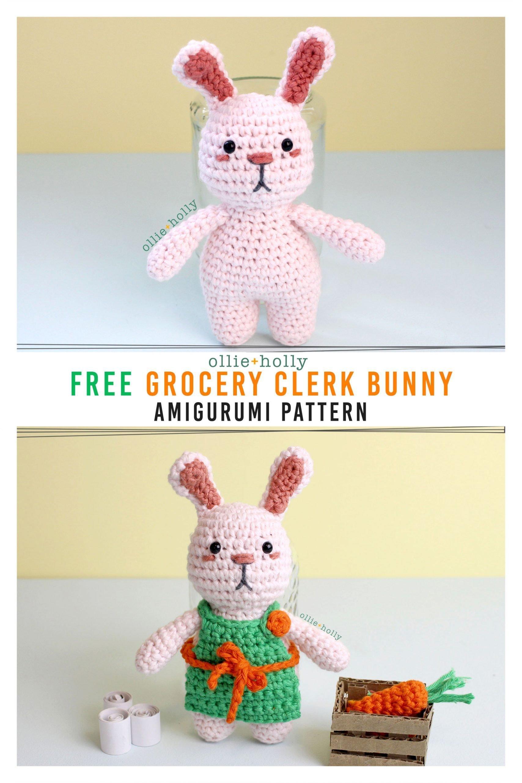 Free Grocery Clerk Bunny Stuffed Animal Amigurumi Crochet Pattern