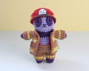 Free Firefighter Panda Stuffed Animal Amigurumi Crochet Pattern Complete