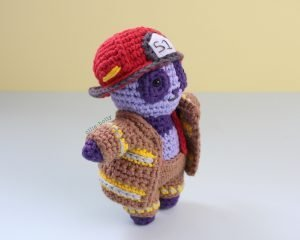 Free Firefighter Panda Stuffed Animal Amigurumi Crochet Pattern Side View