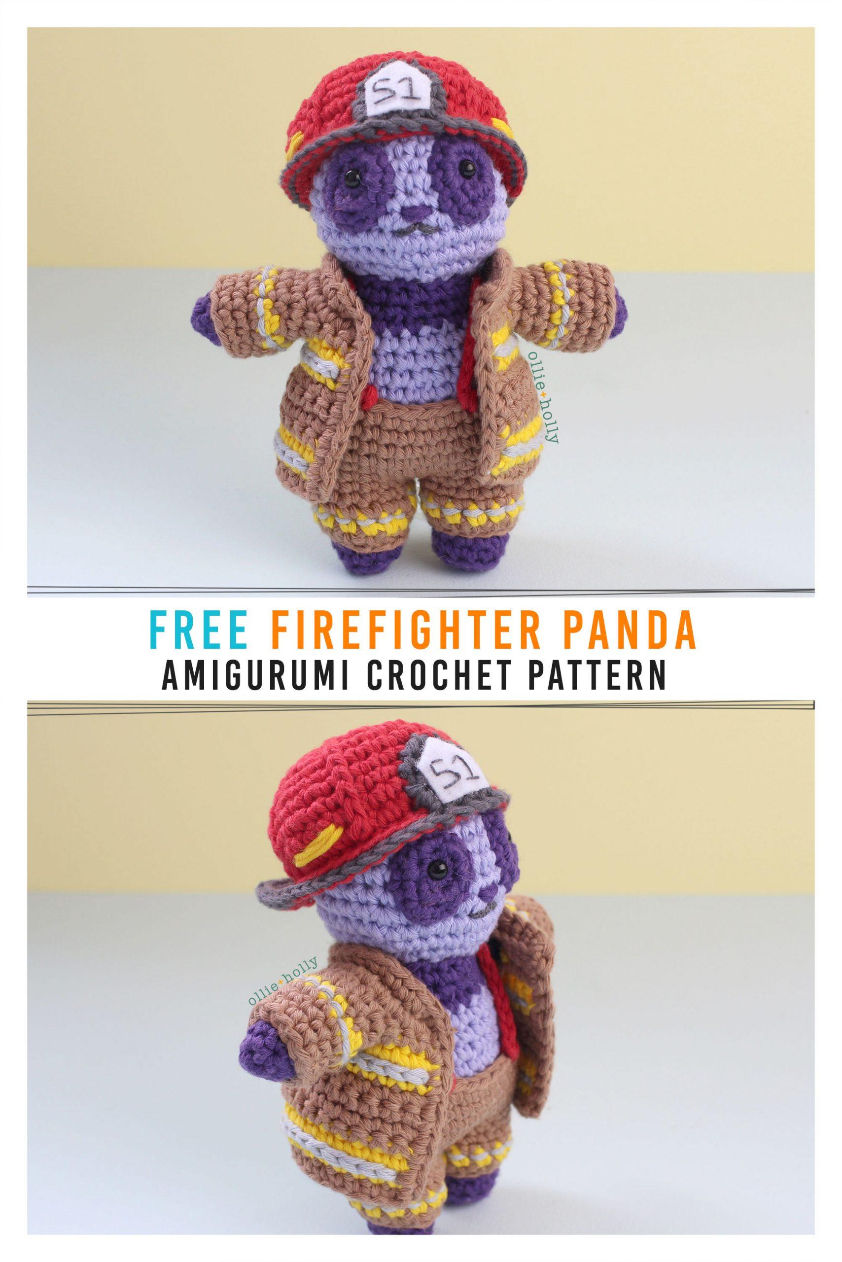 Free Firefighter Panda Stuffed Animal Amigurumi Crochet Pattern