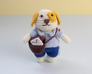 Free Postal Worker Puppy Stuffed Dog Amigurumi Crochet Pattern Step Complete Bag Open