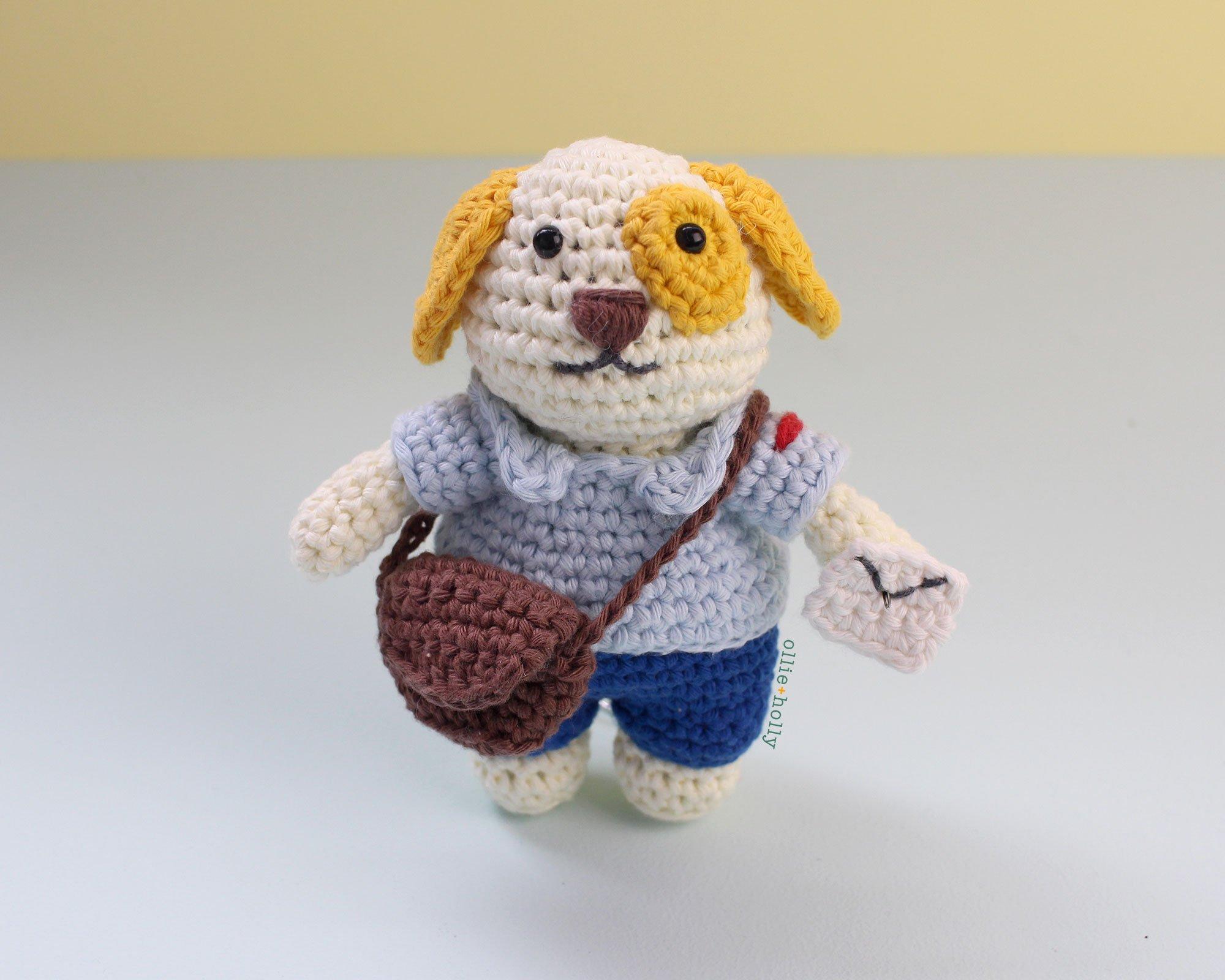 Free Postal Worker Puppy Stuffed Dog Amigurumi Crochet Pattern Step Complete Bag Closed