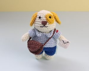 Free Postal Worker Puppy Stuffed Dog Amigurumi Crochet Pattern Front View