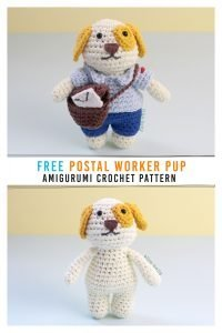 Free Postal Worker Puppy Stuffed Dog Amigurumi Crochet Pattern