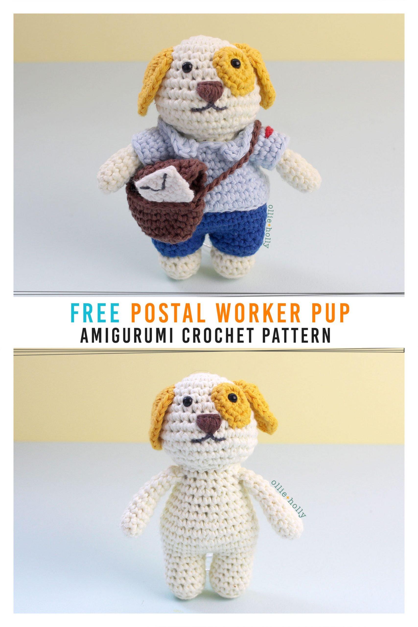 Free Postal Worker Puppy Stuffed Dog Amigurumi Crochet Pattern