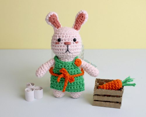 Free Grocery Clerk Bunny Stuffed Animal Amigurumi Crochet Pattern Complete with Toilet Paper