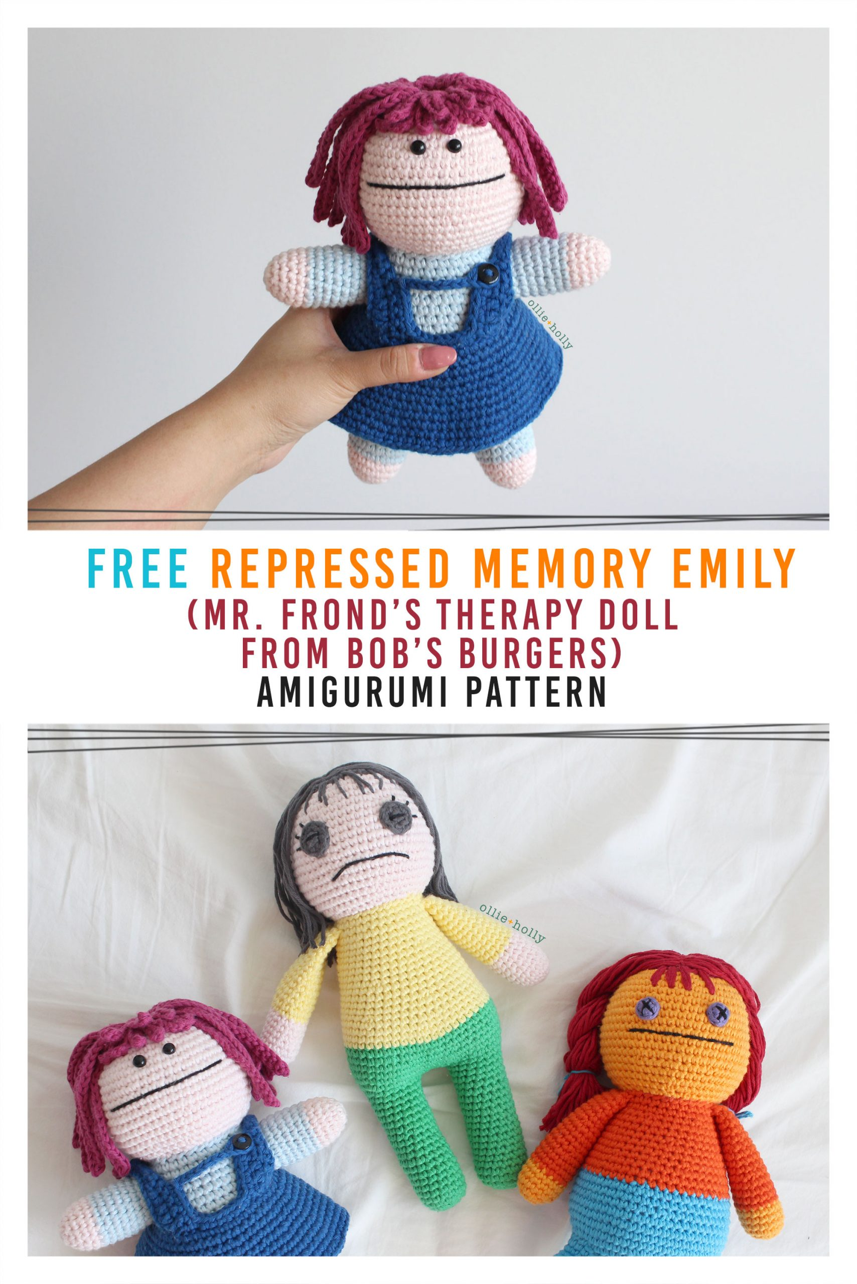 Free Repressed Memory Emily (Mr. Frond's Therapy Dolls from Bob's Burgers) Amigurumi Crochet Pattern Collection