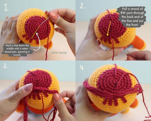 How to Crochet Amigurumi Hair Steps 1 - 4