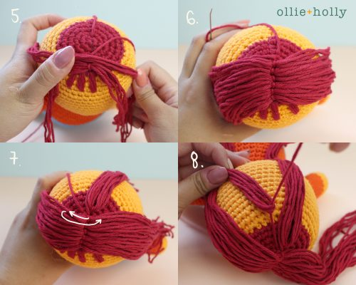 How to Crochet Amigurumi Hair Steps 5 - 8