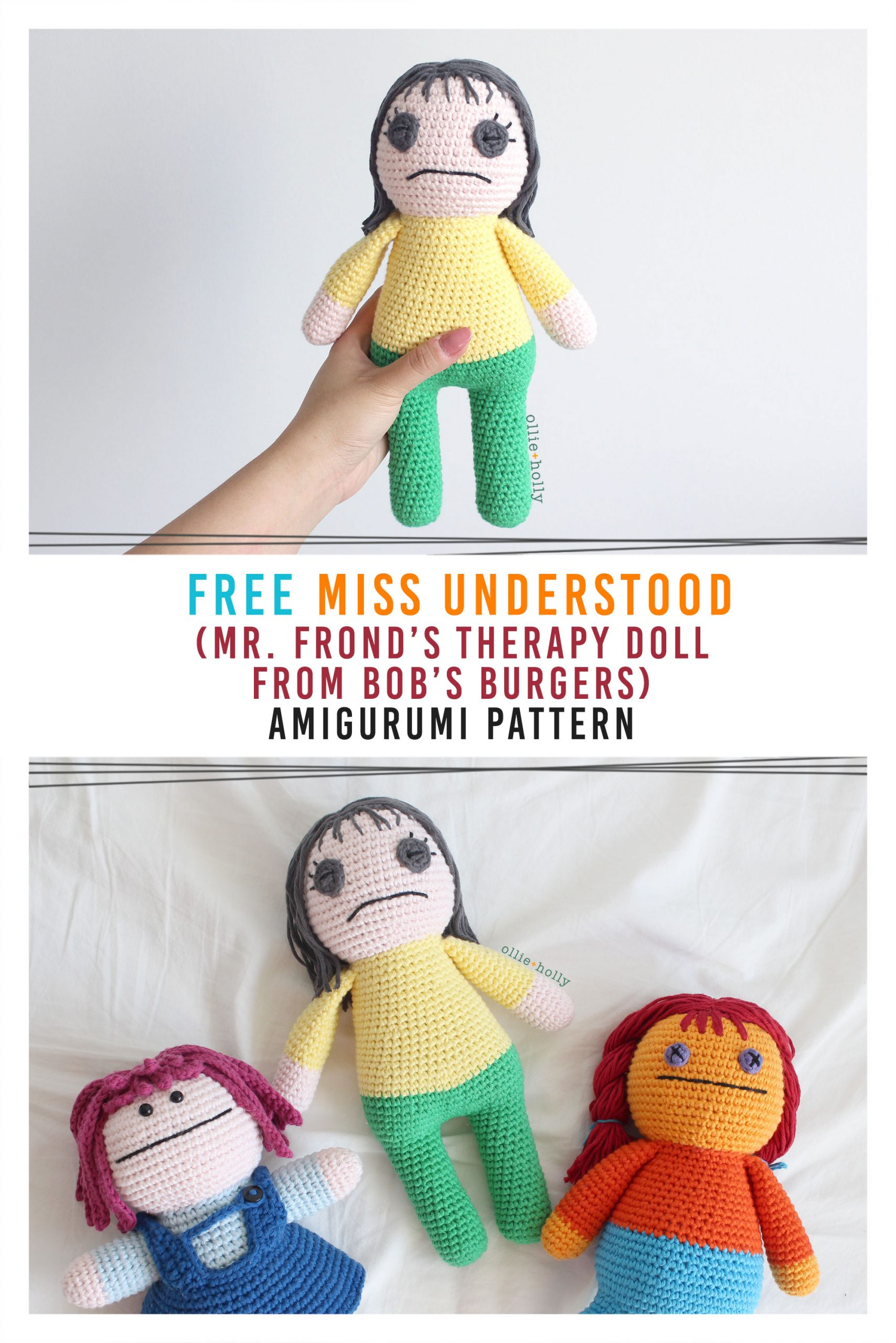 Free Miss Understood (Mr. Frond's Therapy Dolls from Bob's Burgers) Amigurumi Crochet Pattern