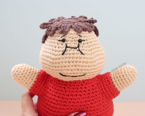 Portion Control Joel (Mr. Frond's Therapy Doll from Bob's Burgers) Amigurumi Crochet Pattern Close Up