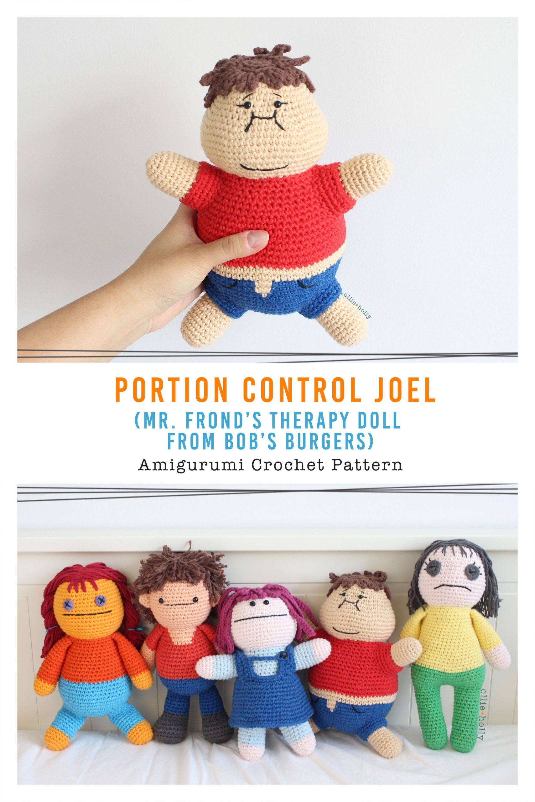 Portion Control Joel (Mr. Frond's Therapy Doll from Bob's Burgers) Amigurumi Crochet Pattern