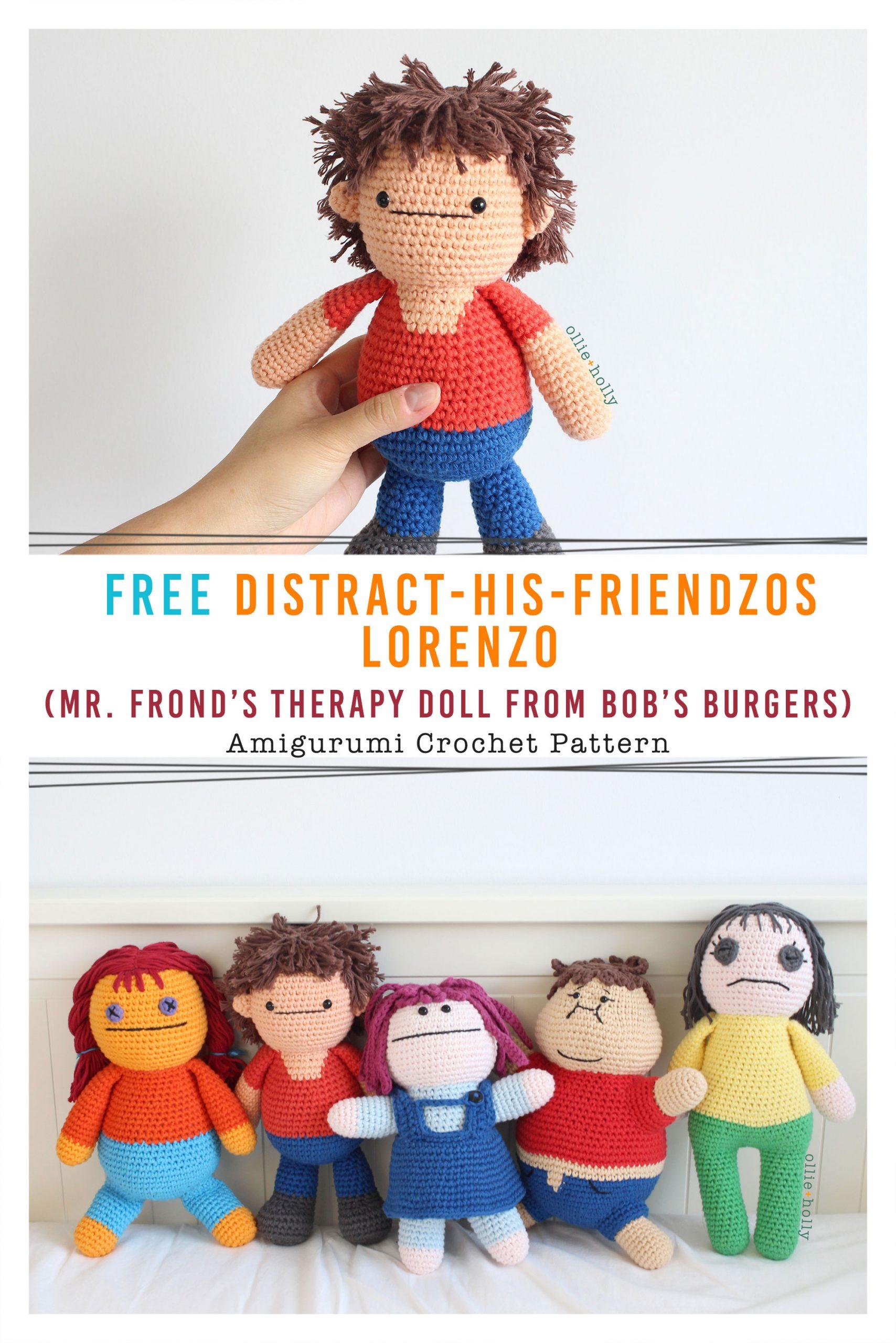 Free Distracts-his-friendzo Lorenzo (Mr. Frond's Therapy Dolls from Bob's Burgers) Amigurumi Crochet Pattern Pinterest