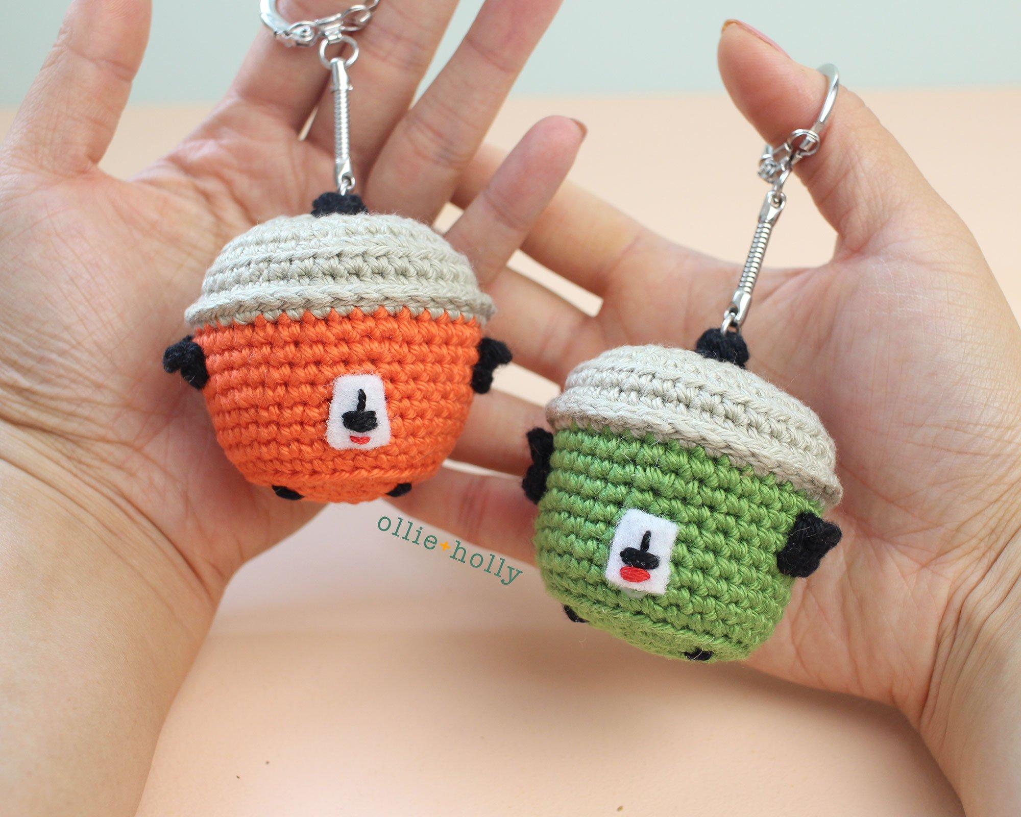 Free Taiwan Tatung Rice Cooker Amigurumi Keychain/Ornament Crochet Pattern Keychain