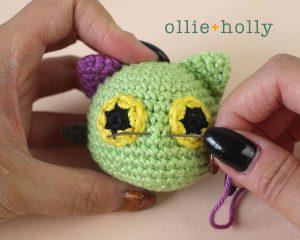 Free Frankenkitty & Pumpkitten Halloween Cat Ornaments Amigurumi Crochet Pattern Step 16