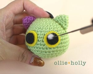 Free Frankenkitty & Pumpkitten Halloween Cat Ornaments Amigurumi Crochet Pattern Step 13