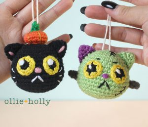 Free Frankenkitty & Pumpkitten Halloween Cat Ornaments Amigurumi Crochet Pattern Finished