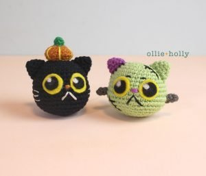 Free Frankenkitty & Pumpkitten Halloween Cat Ornaments Amigurumi Crochet Pattern Complete