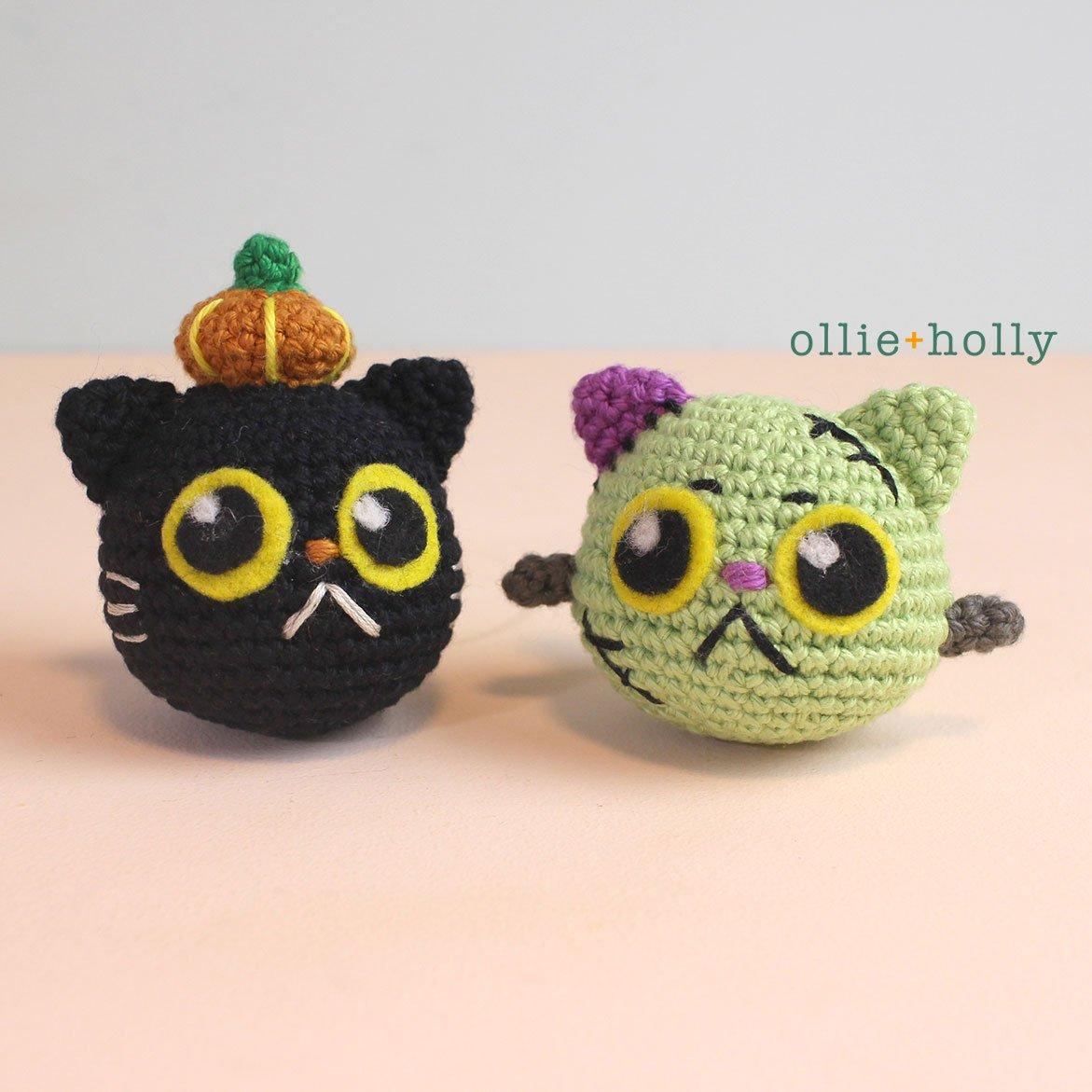 Free Frankenkitty & Pumpkitten Halloween Cat Ornaments Amigurumi Crochet Pattern Side by Side