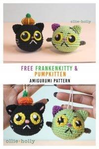 Free Frankenkitty & Pumpkitten Halloween Cat Ornaments Amigurumi Crochet Pattern