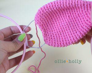 Free Piglet (Winnie the Pooh) Crochet DIY Headband Disney Ears Pattern Step 10