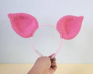 Free Piglet (Winnie the Pooh) Crochet DIY Headband Disney Ears Pattern Finished