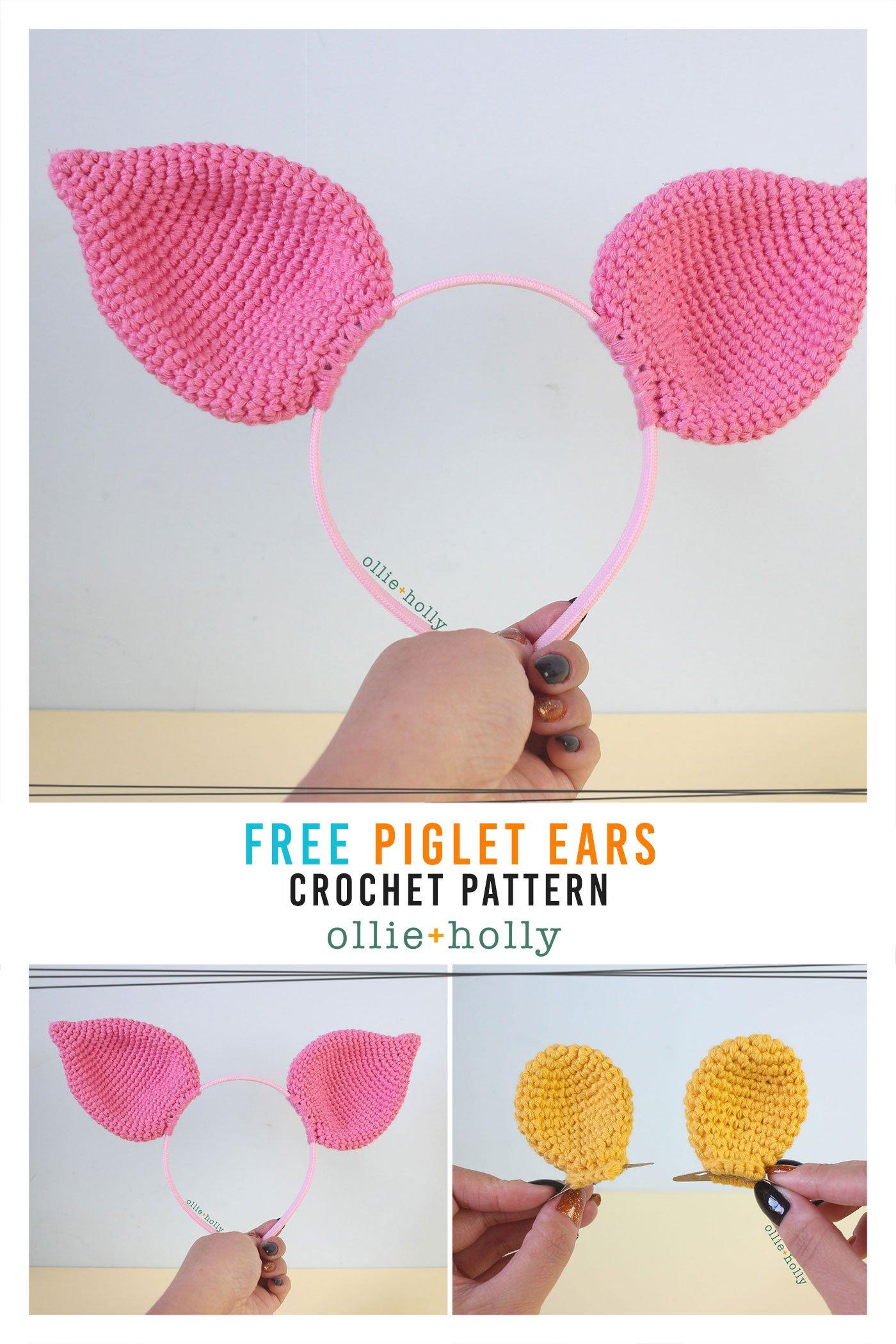Free Piglet (Winnie the Pooh) Crochet DIY Headband Disney Ears Pattern
