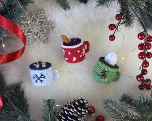 Free Hot Chocolate, Mulled Wine and Coffee Latte With Whipped Cream Mug Amigurumi Christmas Ornament Crochet Pattern