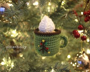 Free Coffee Latte With Whipped Cream Mug Amigurumi Christmas Ornament Crochet Pattern